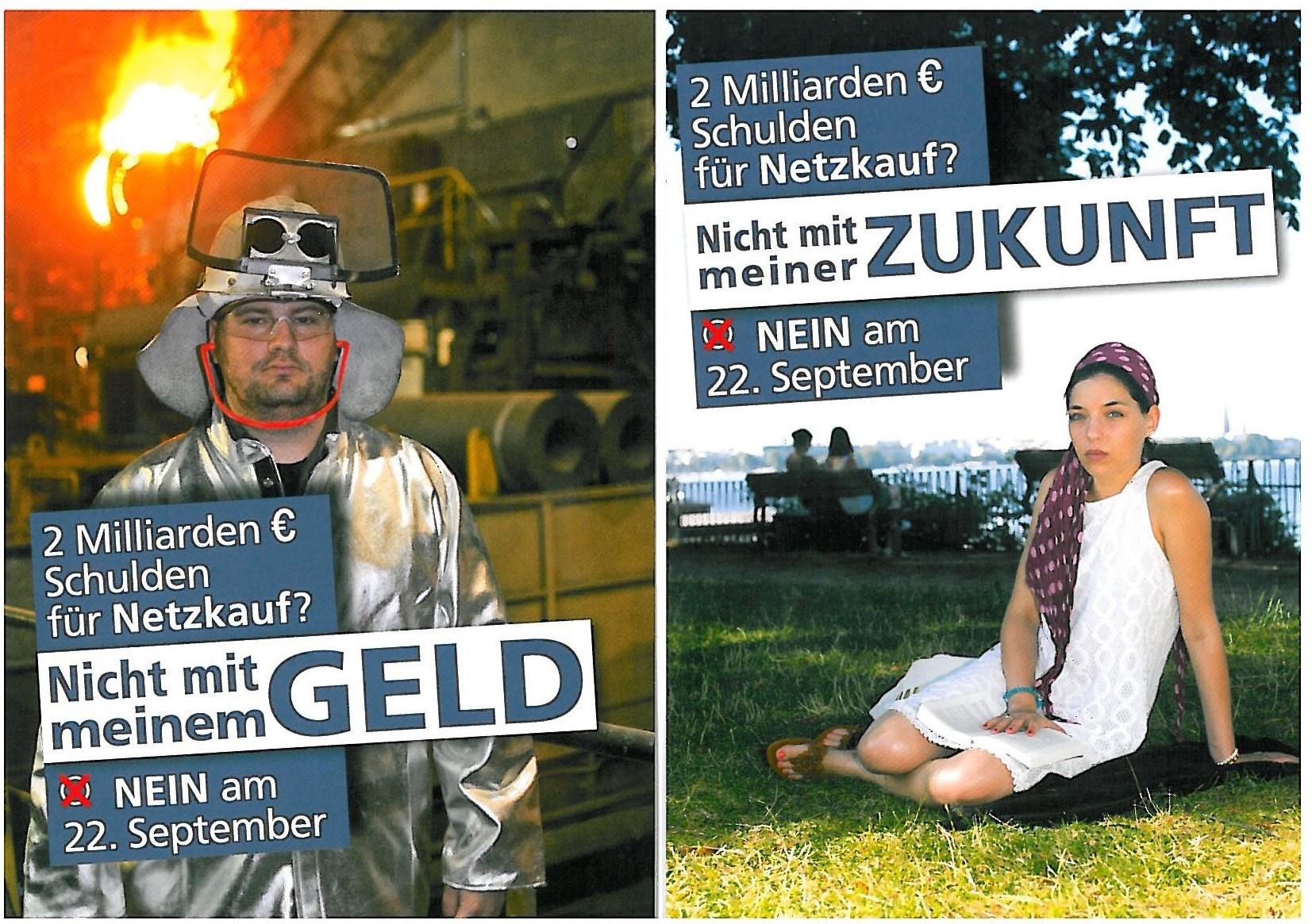 """BU: Mit Unterstützung der Handelskammer gegen den Volksentscheid """"Unser Hamburg - Unser Netz, August 2013"""