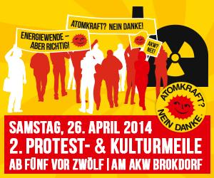 Hallo E.on: Warum dann nicht auch gleich das AKW Brokdorf abschalten? Am 26. April, zum Tschernoby-Jahrestag, ist dort Protest- und Kulturmeile.