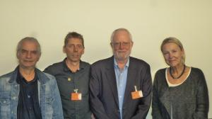 Hubertus Zdebel (Linker Bundestagsabgeordnerter) Peter Bastian (SOFA Münster), Tom Clements (Savanna River Site Watsch, USA) und Sylvia Kotting-Uhl (grüne Bundestagsabgeordnete) nach dem Strategietreffen im Bundestag. Foto: Dirk Seifert