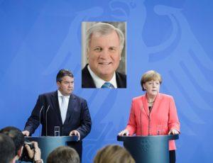 Bundeskanzlerin Angela Merkel und Sigmar Gabriel, Bundesminister für Wirtschaft und Energie, bei einer gemeinsamen Pressekonferenz, im Anschluss an die Unterrichtung der Partei- und Fraktionsvorsitzenden des Deutschen Bundestages zum Thema Griechenland, im Bundeskanzleramt.