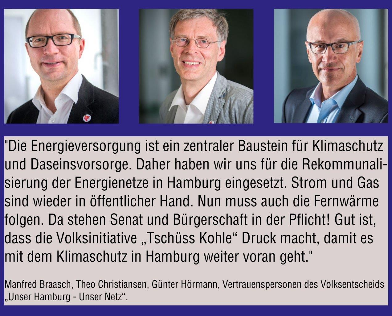Volksentscheid Unser Hamburg – Unser Netz: Vertrauenspersonen fordern Rückkauf der Fernwärme
